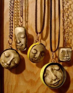 Tranquil Dreams Polymer Clay face pendant by kkennedydesigns Fimo Clay, Polymer Clay Projects, Polymer Clay Creations, Polymer Clay Crafts, Polymer Clay Jewelry, Ceramic Pendant, Ceramic Jewelry, Ceramic Beads, Clay Beads