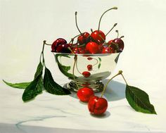 """'Bowl of Cherries' oil on canvas 40"""" X 50"""" by Wildbank. Available in giclee on canvas or paper"""
