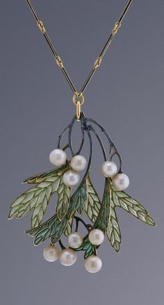 René Lalique - An Art Nouveau gold, enamel and pearl pendant, Paris, circa Signed ´Lalique´ and stamped with maker´s mark. mistletoe berries and leaves Bijoux Art Nouveau, Art Nouveau Jewelry, Jewelry Art, Vintage Jewelry, Jewelry Accessories, Fine Jewelry, Jewelry Necklaces, Jewelry Design, Gold Jewelry