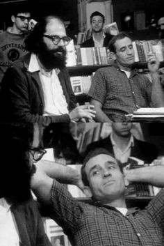 Allen Ginsberg, Neal Cassady, Jack Kerouac /// Don't see Jack in this photo, just Allen and Neal, the hustlers of poetry and stolen cars, with the tension you might expect from two guys who see through each other, ha! AC