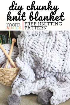 Easy Knitting Patterns for Beginners - How to Get Started Quickly? Chunky Knit Throw, Chunky Blanket, Chunky Knits, Chunky Yarn, Easy Knitting Patterns, Free Knitting, Vogue Knitting, Knitting Tutorials, Blanket Patterns