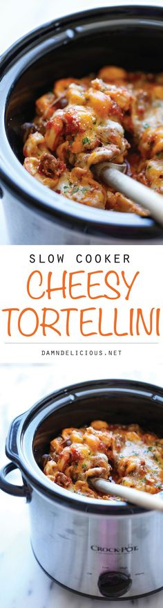 Slow Cooker Cheesy Tortellini - There's nothing better than coming home to the cheesiest tortellini ever, and yes, it's easily made right in the crockpot! (scheduled via http://www.tailwindapp.com?utm_source=pinterest&utm_medium=twpin&utm_content=post896817&utm_campaign=scheduler_attribution)