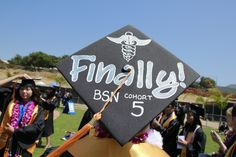 Bachelor of Science in Nursing (BSN) graduation cap decor. Painted Caduceus Symbol.  Mortarboard decorations. | California State University San Marcos Commencement 2013