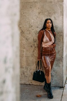 Cool Street Fashion, Paris Fashion, Street Style Women, High Fashion, Vogue, Street Outfit, Everyday Fashion, Leather Pants, Outfits
