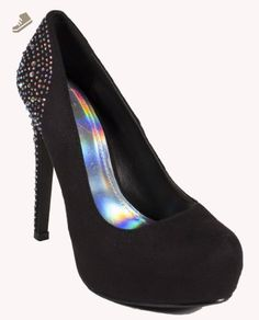 Tower! By Delicious Classic Hidden Platform with Iridescent Crystal Studded Heel, black faux suede, 7 M - Delicious pumps for women (*Amazon Partner-Link)