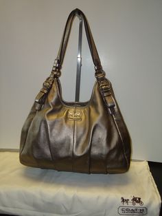 Coach Madison Tote in Bronze.  At Ms. Mulligan's Consignment Boutique