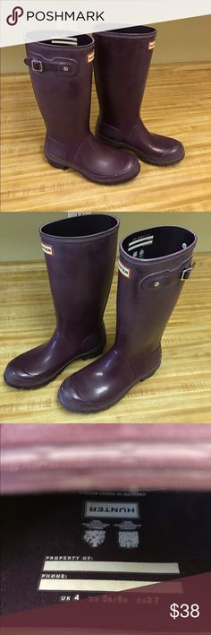 Hunter Boots -- Girls Size 6 Hunter boots, size girls 6/boys 5. Beautiful glossy purple color. There is some blooming on these, which just need to be cleaned. I wear a women's size 8 shoe, and can wear these, but they're a little too small for me. I'm looking to sell them, since they don't fit my feet as well as I had hoped when I first bought them. Worn a handful of times. Hunter Boots Shoes Winter & Rain Boots