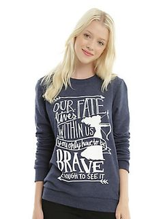 """Are you brave enough to change your fate? You're at least brave enough to wear this pullover sweatshirt from Disney's <i>Brave</i>. The navy crew neck features a silhouette of Merida and her bow and arrow and text design that reads """"Our Fate Lives Within Us, You Only Have To Be Brave Enough To See It.""""<div><ul><li style=""""LIST-STYLE-POSITION: outside !important; LIST-STYLE-TYPE: disc !important"""">60% cotton; 40% polyester</li><li style=""""LIST-STYLE-POSITION: outside !important…"""
