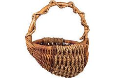Willow and sisal basket with bamboo handle and frame.
