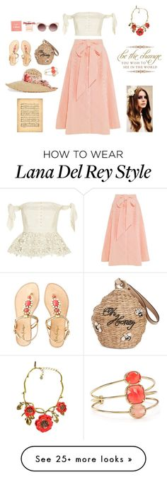 """Summer trip"" by valenciamelis on Polyvore featuring Kate Spade, self-portrait, Lisa Marie Fernandez, Lilly Pulitzer, Gucci, WithChic, Oscar de la Renta and Chloé"