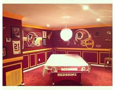 My man cave!! Redskins room!!! #redskins I like the molding idea and pictures of your kids in your teams gear idea.
