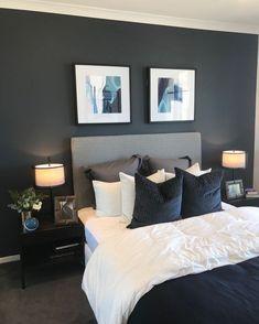 36 cozy blue master bedroom design ideas 17 in 2019 Dark Blue Bedrooms, Blue Master Bedroom, Master Bedroom Design, Dark Gray Bedroom, Bedroom Designs, Bedroom Neutral, Beautiful Master Bedrooms, Bedroom Inspo Grey, Masculine Master Bedroom