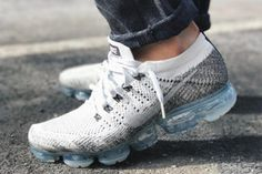 Nike Air VaporMax Oreo Release Date. The Nike Air VaporMax Oreo features White Flyknit uppers, White and Black accents to achieve the Oreo theme. Sneakers Shoes, Sneakers Mode, Air Max Sneakers, Sneakers Fashion, Men's Shoes, Nike Shoes, Shoes Addidas, Reebok, Slip On Tennis Shoes