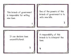 Branches of Govt. task cards