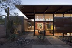 The Brown Residence - modern - exterior - phoenix - the construction zone, ltd.    Like the arbor between the 2 buildings