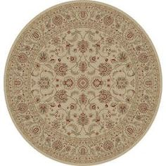 Legend Round Cream Floral Woven Area Rug (Common: 8-ft x 8-ft; Actual: 7.83-ft x 7.83-ft)
