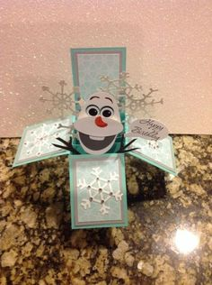Olaf (from Frozen) boxed card - punch art - bjl by terrie Punch Art Cards, 3d Cards, Folded Cards, Cute Cards, Stampin Up Cards, Christmas Cards, Card In A Box, Pop Up Box Cards, Card Boxes