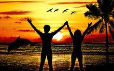 nude couple beach sunrise png clip art by DigitalGraphicsShop