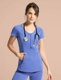 Yoga Pant in Ceil Blue is a contemporary addition to women's medical scrub outfits. Shop Jaanuu for scrubs, lab coats and other medical apparel. Healthcare Uniforms, Medical Uniforms, Medical Careers, Stylish Scrubs, Scrubs Outfit, Nurse Costume, Womens Scrubs, Medical Scrubs, Work Attire