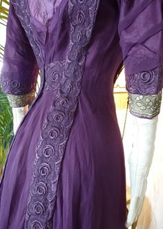 Art Nouveau Purple Silk Dinner Gown, ca. 1912