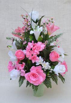 No.4016 Pink  White , Pink, Hydrangea ,  Rose Cemetery Flower Arrangement, Grave Arrangement,  Cemetery flowers