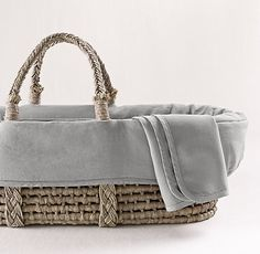 LOVE this Washed Organic Linen Moses Basket Bedding & Ash Basket Set.  Easy to carry baby around the house while doing housework tasks!