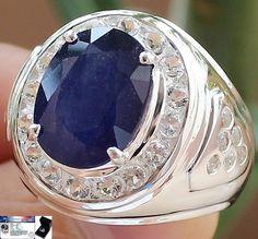 Men's HUGE!!! 11.25 cts Genuine Blue Sapphire & W.Topaz Ring Solid 925SS S#10 FS #JPS #Gents