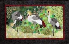 (International Patchwork Festival Sitges 2014)  Quilt ''Kraanvogel Parade'', Yvonne Vulling