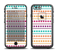 The Colorful Polka Dots on White Apple iPhone 6/6s Plus LifeProof Fre Case Skin Set from DesignSkinz