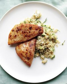 Tilapia and Quinoa with Feta and Cucumber