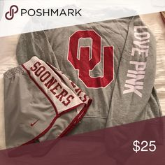 Boomer Sooner Set! University of Oklahoma! Size Large sweater $15. Size Small Shorts $15. Comment if you want to buy separately :) if you buy both! I will throw in the OU Rugby Shirt. Just bundle them and let me know! PINK Victoria's Secret Tops Sweatshirts & Hoodies