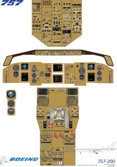 Boeing 757-200 cockpit training diagram used for training pilots