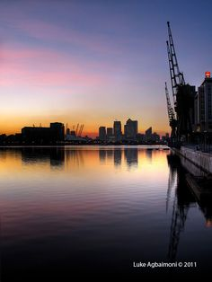 London Docklands sunset reflection.