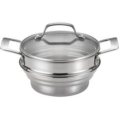 Circulon Universal Steamer + Lid (051153701351) The Circulon accessories stainless steel universal steamer with lid brings healthy, delicious steaming to the kitchen with style for the active cook. stainless steel construction is durable and easy to clean universal steamer and lid fit 2, 3- and 4-qt. capacity pots, and work with both straight-sided and tapered cookware shatter-resistant glass lid allows monitoring of cooking without heat or moisture loss handles are dual riveted for strength…