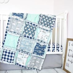 Bear and Teepees Crib Bedding - Navy / Gray / Mint - Crib Bedding - A Vision to Remember