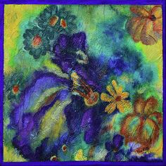 """""""Remember The Flowers"""" by Donna """"Blacky"""" Blackhall 12x12 mixed media on canvas $100"""