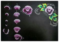 One Stroke Painting, Tole Painting, Fabric Painting, Love Nails, Diy Nails, Gouache, Flower Art, Nail Art Designs, Nailart