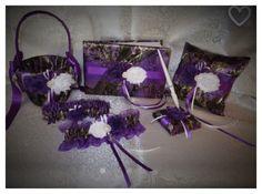 Camo Wedding Set, Wedding Flower Girl Basket, Wedding Pillow, Wedding Guest Book, Pen, Wedding Garter, True Timber Purple Camo Wedding Set by TheMomentWeddingBout on Etsy