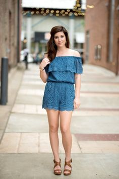 Beautiful blue lace romper from the Devlin Collection. Off the shoulder style with a ruffle in the prettiest shade of blue make this a romper you much have for summer! From I Do Declare Blog.