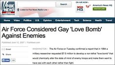 """Gov't Secret Chemical Warfare Against The Public Exposed: Pentagon """"gay bomb"""" was only part of the plan to destroy the sexes"""