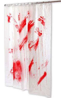 Cortina de ducha Psicosis, ensangrentada Cortina de ducha al estilo Psicosis con la imagen de las manchas de las manos ensangrentadas y salpicaduras de sangre por toda ella.