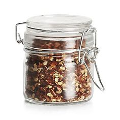 Shop Round Mini Jar with Clamp. Sturdy round glass jar clamps down on four ounces of food with an airtight seal. Glass Spice Jars, Glass Jars, Mason Jars, Plastic Crates, Glass Canisters, Dehydrated Food, Cookware Set, Apothecary Jars, Gourmet Recipes