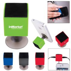 Simple multifunction device featuring screen cleaner, suction base phone stand AND universal 3.5 mm earphone jack splitter.