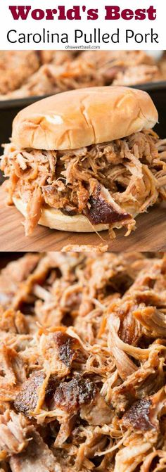 Best Carolina Pulled Pork Hands down, world's best pulled pork, the easy secrets to make it and it's all done in the oven! Hands down, world's best pulled pork, the easy secrets to make it and it's all done in the oven! Pulled Pork Recipes, Meat Recipes, Crockpot Recipes, Slow Cooker Recipes, Pulled Pork In Oven, Smoked Pulled Pork, Pulled Pork Brine Recipe, Pulled Pork Loin, Crock Pot Pulled Pork