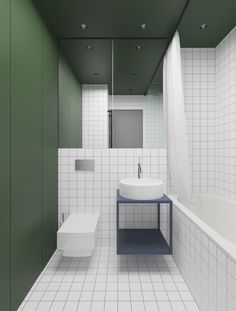 Hoffman Interior Design is a beautiful design project from 2017 by architect Emil Dervish, location in Kiev, Ukraine. Hoffman Interior Design is a beautiful design project from 2017 by architect Emil Dervish, location in Kiev, Ukraine. Bad Inspiration, Bathroom Inspiration, Bathroom Wall, Modern Bathroom, Washroom, Bathroom Green, Bathroom Flooring, Tile Bathrooms, Public Bathrooms