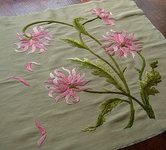 Em's Heart Antique Linens -Antique Society Silk Embroidered Pillowtop