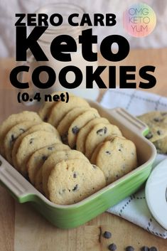 keto cookie recipes These Keto Chooclate Chip cookies are soft and chewy. Make some soft keto cookies for someone who is eating a low carb diet that you love. Eating the keto diet can be easy when you make yourself some keto cookies! Keto Cookies, Keto Chocolate Chip Cookies, Cookies Et Biscuits, Cookies Soft, Low Calorie Cookies, Coconut Flour Cookies, Almond Flour Pancakes, Mint Chocolate, Chocolate Desserts