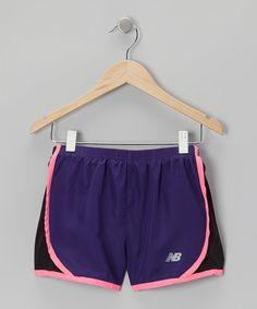 Look at this #zulilyfind! Purple & Pink Track Shorts - Girls #zulilyfinds