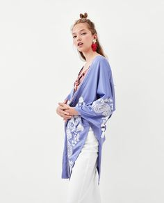 Image 6 of LONG EMBROIDERED KIMONO from Zara