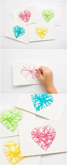 Make String Heart Yarn Cards. These make pretty handmade Valentine cards and are a great threading sewing activity for kids! Wouldn't they also make cute Mother's Day cards?